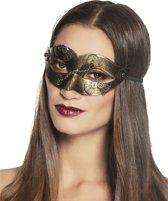 Steampunk masker met goudkleurige tandwielen voor vrouwen - Verkleedmasker