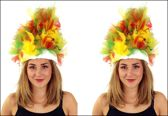 2x Fur hoed rood/geel/groen incl. verlichting