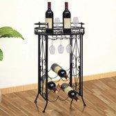 VidaXL Metalen wijnrek - staand -  tafelmodel met haken - 9 flessen