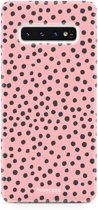 FOONCASE Samsung Galaxy S10 hoesje TPU Soft Case - Back Cover - POLKA COLLECTION / Stipjes / Stippen / Roze