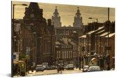 Een straat bij Liverpool in het Verenigd Koninkrijk Aluminium 90x60 cm - Foto print op Aluminium (metaal wanddecoratie)