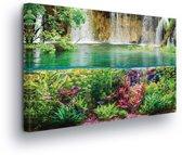 Waterfall Sea Jungle Nature Canvas Print 60cm x 40cm