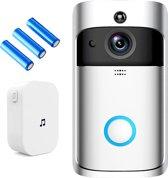 Video deurbel met binnenbel en oplaadbare batterijen - NL en ENG handleiding – WiFi video deurbel met bewegingsmelder - deurbel met dag en nachtmodus - HD 720P Camera