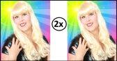 2x Pruik sensation longstyle blond