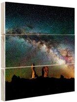Balanced Rock bij nacht Hout 50x50 cm - Foto print op Hout (Wanddecoratie)