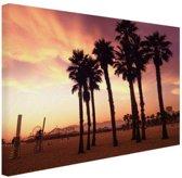 Santa Monica Beach zonsondergang Canvas 120x80 cm - Foto print op Canvas schilderij (Wanddecoratie woonkamer / slaapkamer)