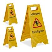 "relaxdays 3 x waarschuwingsbord ""Achtung Rutschgefahr"" - klapbaar - gladde vloer bord"