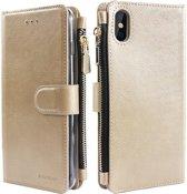 Xssive Wallet Book Case met Ritsvak voor Apple iPhone XS Max - Goud