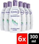 Andrélon Natuurlijk Puur Zijdeglans & Zen Shampoo - 6 x 300 ml - Voordeelverpakking