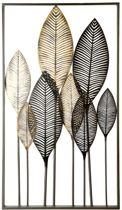 Wanddecoratie metaal 'bladeren' zwart/bruin