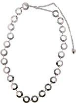 Chain Belt Cirkels - Tailleriem / Heupriem - Metaal - Lengte Verstelbaar 80-100 cm - Zilverkleurig - Dielay