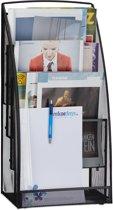 relaxdays tijdschriftenrek metaal - 60 hoog - tijdschriftenhouder - 4 vakken - lectuurbak zwart