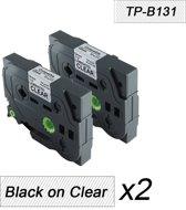 2x Brother Tze-131 TZ-131 Compatible voor Brother P-touch Label Tapes - Zwart op Transparent - 12mm