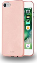 Azuri metallic cover met soft touch coating - goudroze - voor iPhone 7 en iPhone 8
