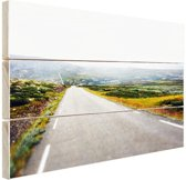 Uitzicht op een landweg Hout 80x60 cm - Foto print op Hout (Wanddecoratie)