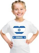 Israel kinder t-shirt met Israelische vlag in hart wit jongens en meisjes S (122-128)