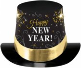 Tophat Happy New Year Printed Black Silver Gold 15 2 cm