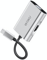 WIWU A20VH Type-C to HDMI Type-c to VGA Adapter,2in1 HDMI 4K 60HZ,VGA 1080P USB Type C Converter, for New Apple MacBook Pro, MacBook,Chromebook,DELL,HP,ASUS,All Type-c Computers - Zilver