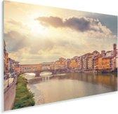 Zonnestralen over de Ponte Vecchio in Italië Plexiglas 30x20 cm - klein - Foto print op Glas (Plexiglas wanddecoratie)