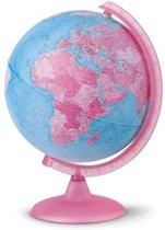 Atmosphere globe Pink 25cm nederlandstalig kunststof voet met verlichting