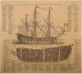 Poster Historisch Oorlogsschip Royal Navy 1728 - militaire vloot van het Verenigd Koninkrijk - Antiek / Vintage