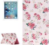 Let op type!! iPad Pro 12.9 inch horizontaal Chinees rozen patroon PU leren Flip Hoesje met houder en opbergruimte voor pinpassen