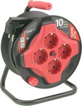 ETM  Kabelhaspel Mini - 10 m met 3 x 1.0 mm2 PVC Snoer - Zwart/Rood