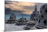 Donkere wolken boven de Borobudur tempel Aluminium 90x60 cm - Foto print op Aluminium (metaal wanddecoratie)