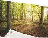 Een weg door het bos Tuinposter 60x40 cm - klein - Tuindoek / Buitencanvas / Schilderijen voor buiten (tuin decoratie)