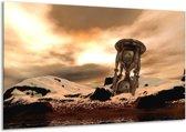 Canvas schilderij Abstract | Geel, Bruin, Goud | 120x70cm 1Luik
