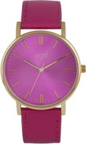 Regal Slimline Trendy Edition R15288-535 - Horloge - Leer - Roze - 39 mm
