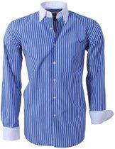 Brentford and Son - Heren Overhemd - Ongetailleerd - Gestreept - Blauw