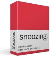 Snoozing - Katoen-satijn - Hoeslaken - Extra Hoog - Eenpersoons - 90x200 cm - Rood