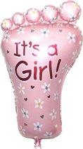 Roze babyvoetje its a girl voor geboorte meisje 35 cm