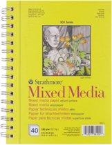 300 series mixed media papier 14x21,6cm 190g/m² 40 vellen in een dubbelspiraal gebonden blok