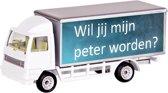 Leuk kado met naam model vrachtwagen tekst - wit
