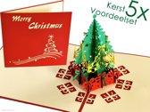 Popcards popupkaarten voordeelset - Kerstkaarten kerstboom met cadeautjes pop-up kaarten