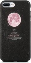 KISSCASE Matte Cover voor iPhone 7 Plus | iPhone 8 Plus | I Love You | Ultradunne Hard Case | Maan Sterrenhemel | Roze Zwart