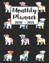 Monthly Planner 2020-2021: Floral Maltese Dog - Two Year Calendar Organizer Agenda with Notes, Address, Password, & Dot Grid Pages