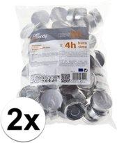 100x waxinelichtjes / theelichtjes - 4 branduren - 3,7 cm