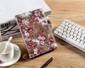 H.K. Draaibaar/Boekhoesje hoesje bruine bloemen geschikt voor Apple Ipad AIR/AIR2/2017/2018 + Stylus pen