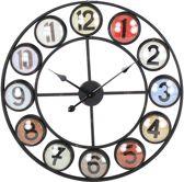 CLOCK IRON/PLASTIC RED 68X5X68CM