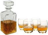 Karaf Sierfles set - Sterke drank - Whiskeyset - Cognac - Glazen karaf met glazen - 900 ml (0.9L)