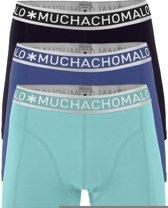 Muchachomalo Solid Heren Boxershorts - 3 pack - Zwart/Turqoise/Blauw - Maat S