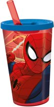 Stor Drinkbeker Met Rietje Spider-man Rood/blauw 450 Ml