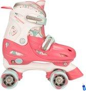 Rolschaatsen Rollerskates - Meisjes Verstelbaar - Roze/Wit/Grijs - Maat 27-30