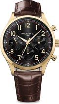 William L. 1985 - WLOJ03NROJCM - IP YELLOW GOLD VINTAGE STYLE CALENDAR - BLACK DIAL WITH BROWN LEATHER STRAP