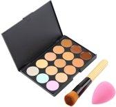 Concealer & Foundation Poeder Palette - Make Up Palet Met Blending Spons & Visagie Poeder Kwast