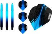 ABC Darts Flights Pentathlon - Dart flights en Medium Dart Shafts - Blauw - 3 sets