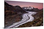 De Aletschgletsjer bij een zonsondergang in de herfst in Europa Aluminium 180x120 cm - Foto print op Aluminium (metaal wanddecoratie) XXL / Groot formaat!
